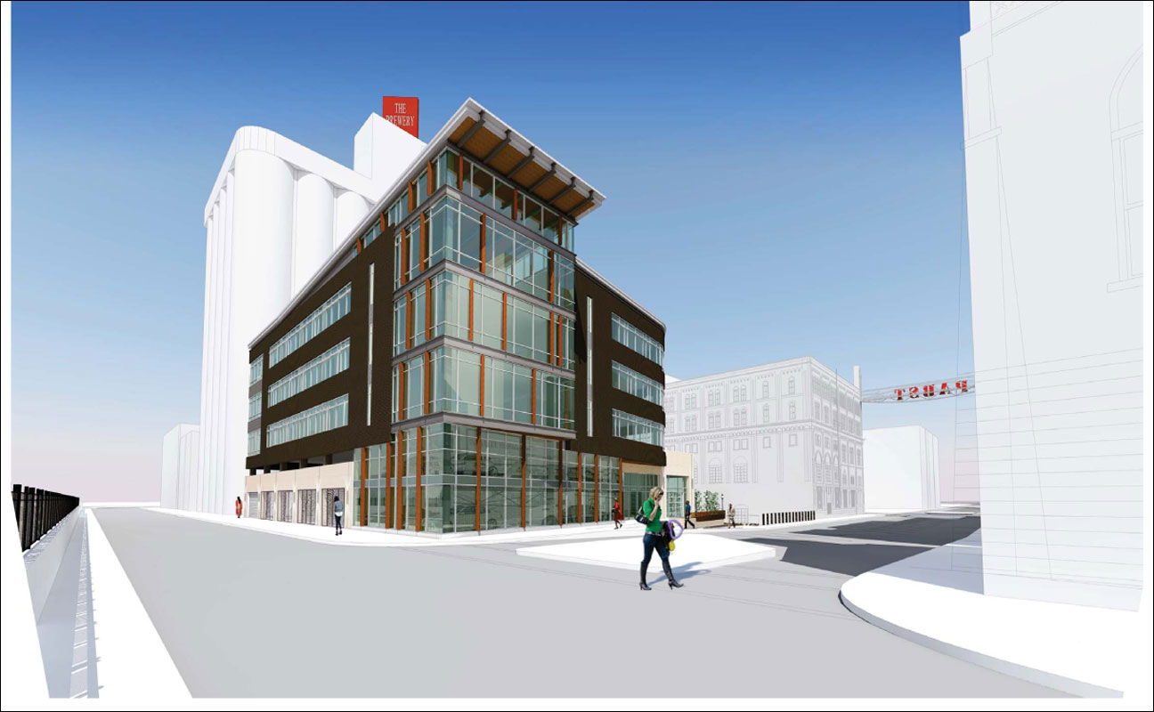 Construction is expected to start in June on the Pabst Business Center, a 73,000-square-foot office building at West Juneau Avenue and 11th Street in Milwaukee. (Rendering courtesy of Rinka Chung Architecture Inc.)