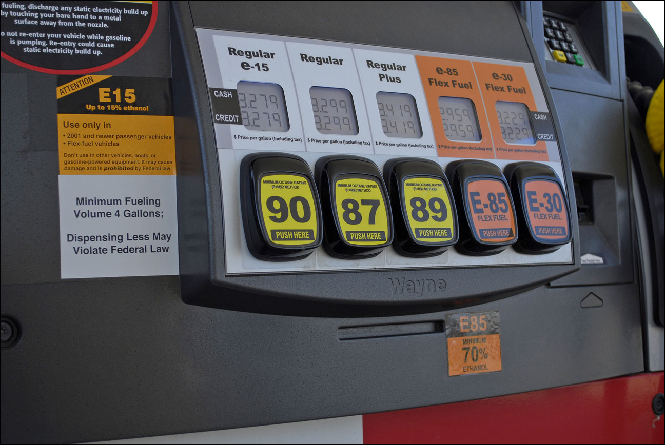 a Lawrence, Kansas, fueling station pump with various grades of fuel, including E15, which contains 5 percent more ethanol than the current 10 percent norm sold at most U.S. gas stations. E15 is sold in just 20 stations in six Midwestern states, but could spread to other regions as the Obama administration considers whether to require more ethanol in gasoline; it's cheaper and cleaner but it could damage older cars and motorcycles. The American Petroleum Institute has asked the Supreme Court to block sales of E15. The Court could decide as soon as Monday, June 24, 2013, whether to hear the ethanol case. (AP Photo/Renewable Fuels Association, Robert White)