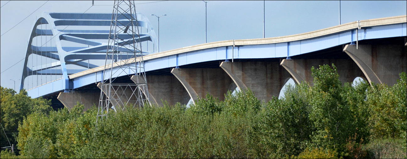 Work begins to repair the Leo Frigo bridge in Green Bay on Monday after a portion of the bridge sagged in September. (AP Photo/The Green Bay Press-Gazette, Lukas Keapproth )(AP Photo/The Green Bay Press-Gazette, H. Marc Larson)
