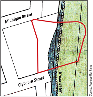 Preserve Our Parks officials contend that an 1884 map of Milwaukee proves that the Downtown Transit Center (red outline) was built on filled-in lakebed.