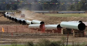 large sections of pipe are shown in Sumner, Texas. Republicans are counting on a swift vote in early 2015 on building the Keystone XL pipeline to carry oil from Canada to the U.S. Gulf Coast now that Republicans clearly have the numbers in the Senate. (AP Photo/Tony Gutierrez, File)