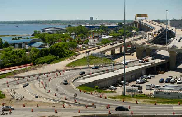Motorists weave their way through the construction zone which has over taken the Hoan Bridge Tuesday, June 23 and past the Summerfest grounds in Milwaukee. People headed to Summerfest which starts Wednesday will have several construction sites to pass through before making their destination. (Staff photo by Kevin Harnack)