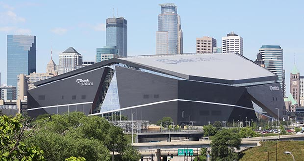 U.S. Bank Stadium in Minneapolis. The stadium was recently recognized for setting an example of what's possible with green-design practices. (Photo by Bill Klotz)