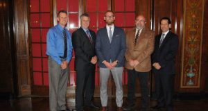 The 2017 Milwaukee NARI executive officers are Tom Mainville, secretary (from left); Bingo Emmons, treasurer; Josh Brown, president; Dan Callies, immediate past president; and Chris Egner, vice president.