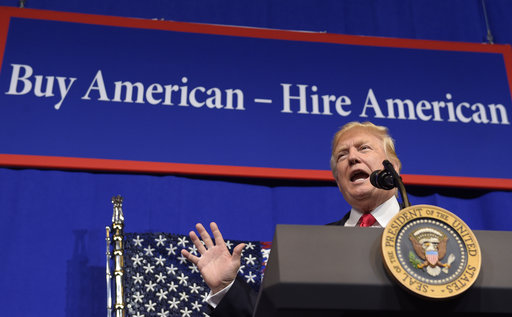"FILE - In this Tuesday, April 18, 2017, file photo, President Donald Trump speaks at tool manufacturer Snap-on Inc. in Kenosha, Wis. When Trump signed an executive order Tuesday in Kenosha, he sent a characteristically blunt message. ""The policy of our government,"" Trump declared, ""is to aggressively promote and use American-made goods."" (AP Photo/Susan Walsh, File)"