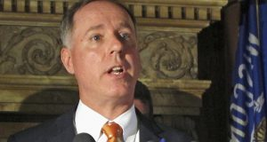 "FILE - In this Sept. 7, 2016, file photo, Wisconsin Assembly Speaker Robin Vos speaks at a news conference in Madison, Wis. During a television interview aired Sunday, Oct. 22, 2017, Vos called three fellow Republicans ""terrorists"" over how they negotiated the state budget with Gov. Scott Walker. (AP Photo/Scott Bauer, File)"