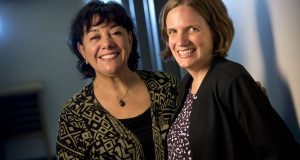 Erica Sweitzer-Beckman (right), a lawyer for Legal Action of Wisconsin's Migrant Farmworker Clinic, recently helped Sanjuana Maltos, a retired migrant worker who used to work in Wisconsin canneries, fight charges of unemployment-benefits fraud. Because of those allegations, Maltos was faced with owing more than $11,000 in penalties. (Staff photo by Kevin Harnack)