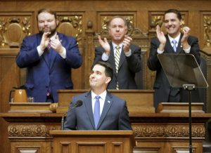 Wisconsin Governor Scott Walker delivered his State of the State Address on Wednesday in the Assembly Chamber of the State Capitol in Madison, Wisconsin.  (Steve Apps/Wisconsin State Journal via AP)
