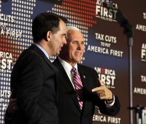 Vice President Mike Pence came to Milwaukee on Wednesday to bolster public support for the Republican tax overhaul and raise campaign cash for Gov. Scott Walker. He spoke at an event sponsored by America First Policies, a pro-Donald Trump group. (Rick Wood /Milwaukee Journal-Sentinel via AP)