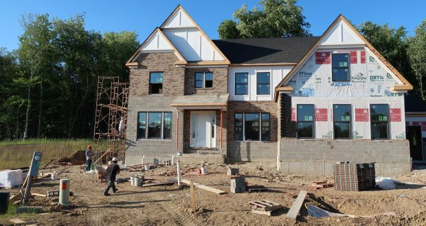 A house under construction in May in Hampton Township, Pennsylvania. The U.S. Commerce Department reported on Tuesday that housing starts increased buy 5 percent in May, led by building in the Midwest. (AP Photo/Ted Shaffrey)