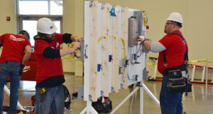 Electrical apprentices put their training to the test during ABC of Wisconsin's 2018 Skill Competition in January at Washington County Fair Park.