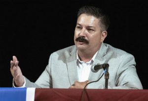 Randy Bryce, a Wisconsin Democratic candidate for the U.S. House, answers a question on July 8 during a debate in Lake Geneva. Bryan Steil, House Speaker Paul Ryan's protege, is looking to keep Ryan's Wisconsin district in Republican hands. Ryan has held the seat for 20 years but announced in April that he would not seek re-election. Steil and Bryce will square off on Nov. 6. (Angela Major /The Janesville Gazette via AP)