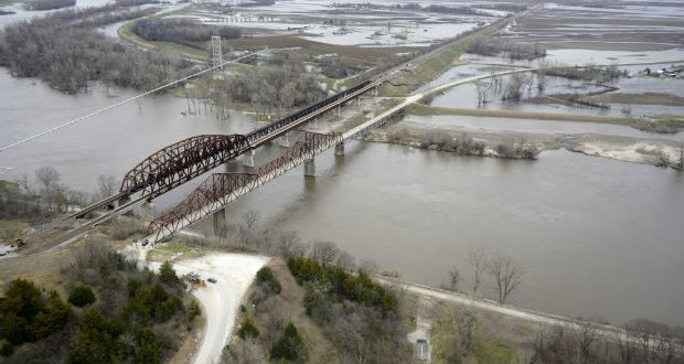 The Missouri River is flooded on April 12 between Plattsmouth, Nebraska, and Mills County, Iowa. Massive flooding this spring gave rise to much criticism of the Army Corps of Engineers, which manages the river. (AP Photo/Nati Harnik)