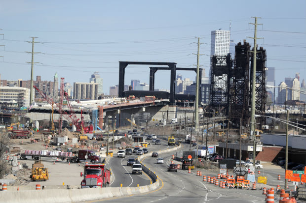 The construction site of the new Route 7 drawbridge in Kearny, New Jersey, as seen on April 17. Small businesses want to see the federal government follow through on promises to spend $2 trillion on infrastructure projects. (AP Photo/Julio Cortez, File)