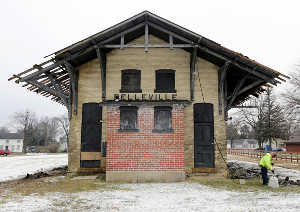 The Belleville railroad depot, constructed in 1888, is showing its age, but by early 2020 could be restored and occupied by a business or businesses designed to serve the region. (Amber Arnold/Wisconsin State Journal via AP)