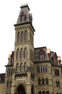 The restored façade of Old Main on Thursday.