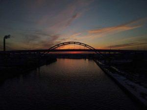 The sun sets on the Hoan Bridge in Milwaukee in February.