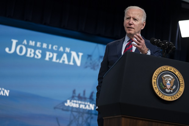 President Joe Biden speaks during an event on the American Jobs Plan in the South Court Auditorium on the White House campus on Wednesday in Washington. (AP Photo/Evan Vucci)