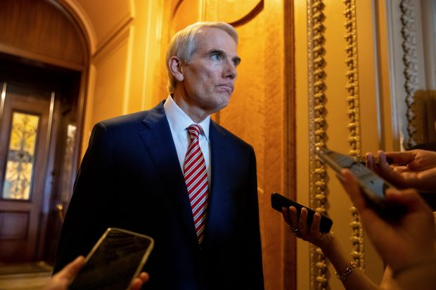 Sen. Rob Portman, R-Ohio, speaks to reporters after a luncheon with Senate Republicans at the Capitol in Washington on Thursday. (AP Photo/Amanda Andrade-Rhoades)